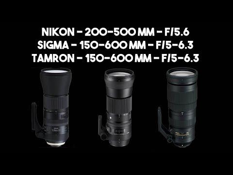 Lentes: Nikon 200-500 mm f/5.6, Tamron 150-600 mm f/5-6.3 G2 e Sigma 150-600 mm f/5-6.3
