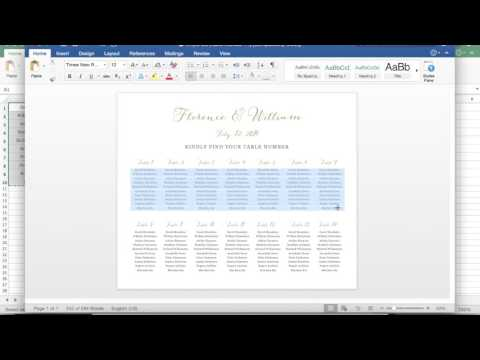 Adding guest names to the Seating Chart template