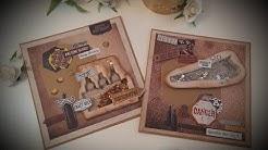 2 Karten aus einem DIY  Kartenset von Action, Karten bastel, Männerkarte, Geburtstagskarte