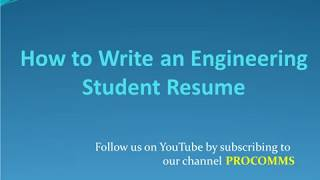 Engineering Student Resume   How to Write An Engineering Student Resume
