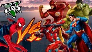 GTA V PC MODS - SPIDERMAN VS SUPERHEROES !! BATALLAS DE GTA 5 - ElChurches