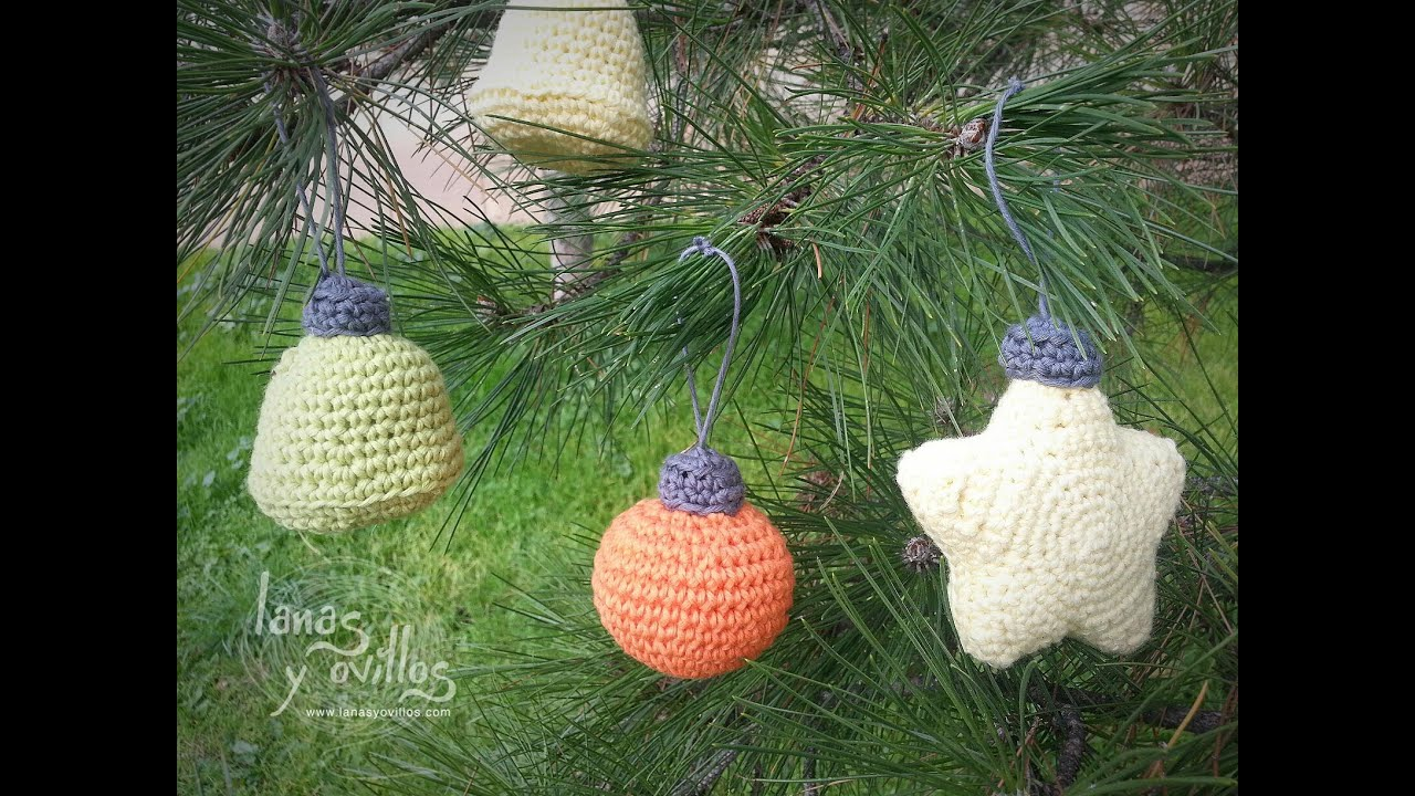 Tutorial campana crochet o ganchillo adorno rbol navidad - Como hacer adornos de navidad paso a paso ...