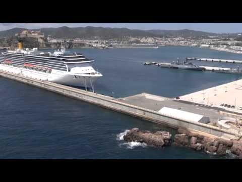 Port Ibiza aerial featuring Star Clippers and Costa