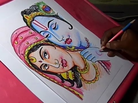 How To Draw Lord Krishna And Radha Drawing Youtube