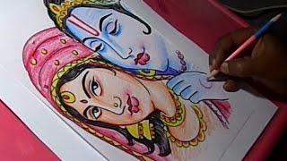 How to Draw Lord Krishna and Radha Drawing