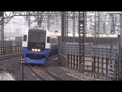 255系特急わかしお 雨の新木場駅通過/Wakashi 255 Series at Shin-kiba/2014.04.18