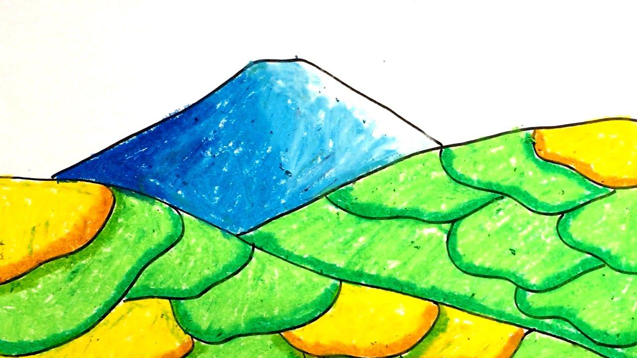 Menggambar & Mewarnai Pemandangan Sawah Dan Gunung Untuk Anak