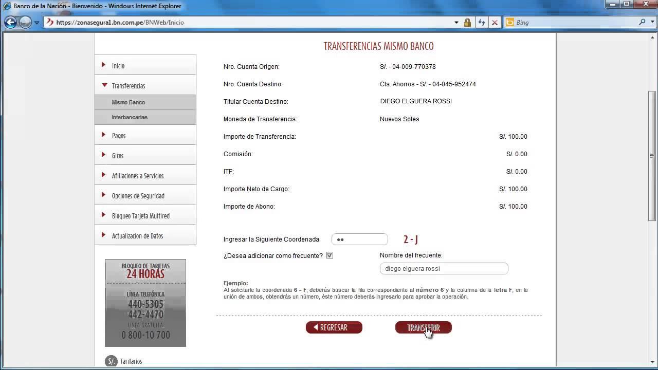 Multiredvirtual c mo realizar una transferencia for Numero del banco exterior