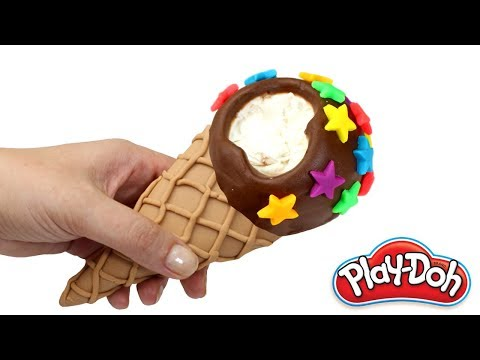 Play Doh Ice Cream Cone How To Make Play Doh Food Ice Cream For Kids Kinetic Sand Ice Cr