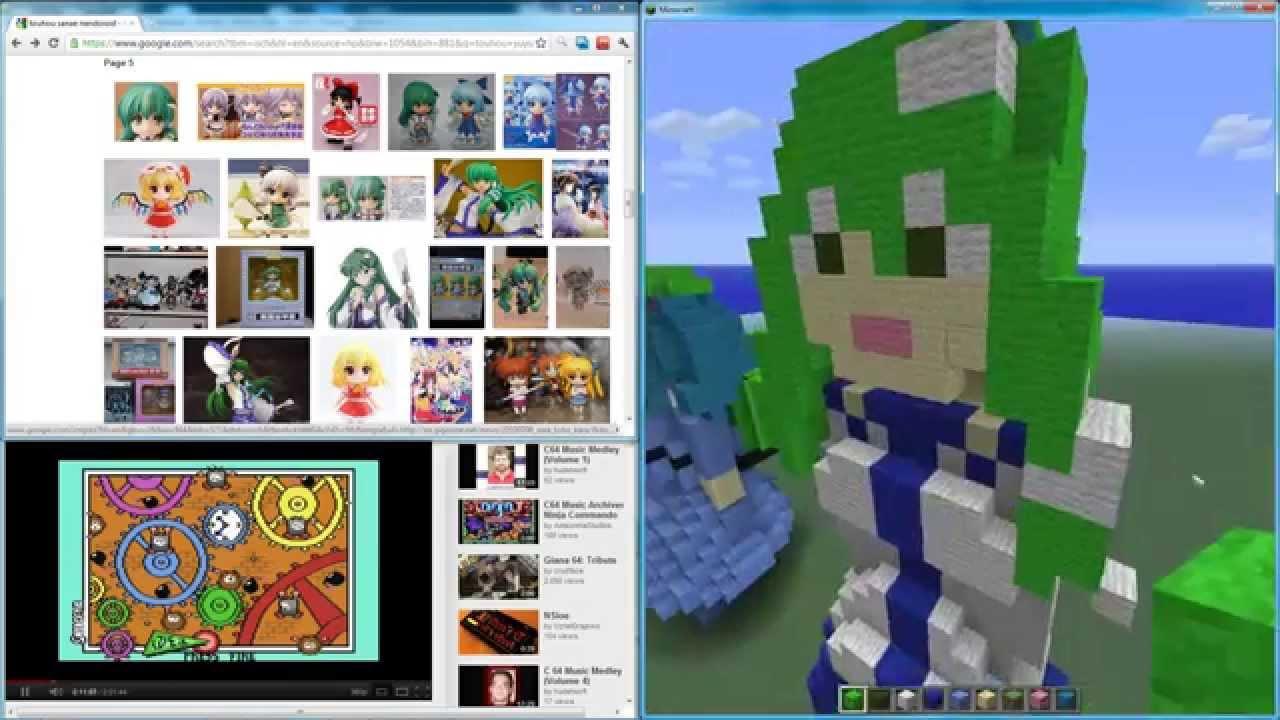 Touhou Minecraft Sanae Kochiya 3d Pixel Art The Making