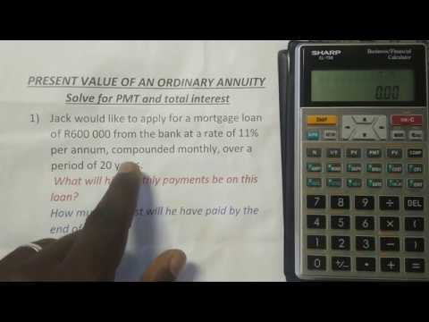 Payment & Total interest of an Ordinary Annuity (PV) | Financial Calculator Sharp EL-738
