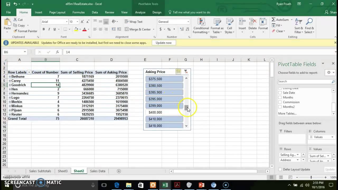 Chapter 5 - Subtotals and PivotTables - PivotTable Options