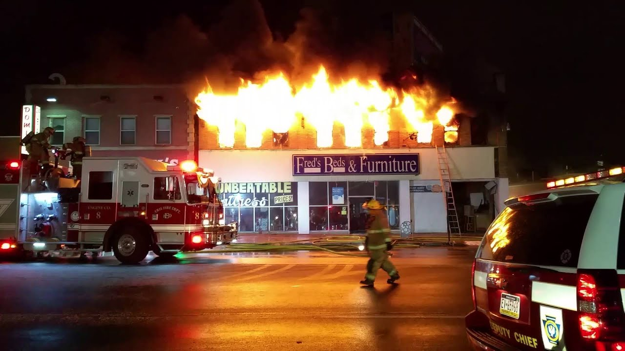 Amazing Fredu0027s Beds U0026 Furniture Fire   Erie, PA   YouTube