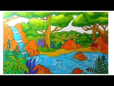 How To Draw Waterfall And Forest Scenery Youtube