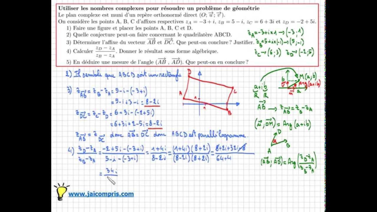 Exercice pour apprendre à utiliser les nombres complexe en ...