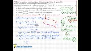 Exercice pour apprendre à utiliser les nombres complexe en géométrie - Terminale S - Important
