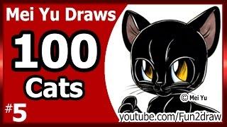 Drawing a Cat - Mei Yu Draws 100 Cats #5  - Fun2draw