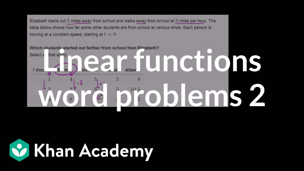 Comparing linear functions word problems 2 | Algebra I | Khan ...