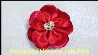 DIY:Flor em Camadas – Fita de Cetim N 09/38mm