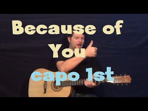 Because Of You (Kelly Clarkson) Easy Guitar Lesson How to Play Tutorial - Capo 1st/3rd Fret
