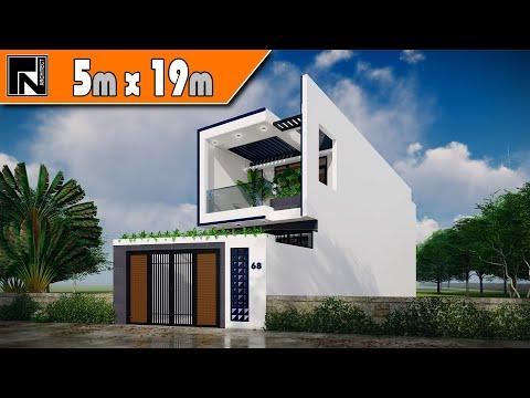 Thiết kế nhà ống 2 tầng 5x19m hiện đại 3 phòng ngủ cho anh Cường - Cần Đước, Long An   Kiến trúc TN