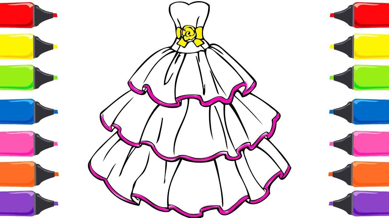 Bella Elbisesi Boyama Sayfaları Renkleri öğreniyorum Sihirli