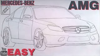 [EASY] How to draw a MERCEDES-BENZ C63 AMG 2012