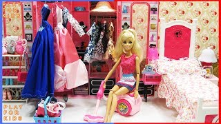 Barbie Doll House Cleaning Morning Routine