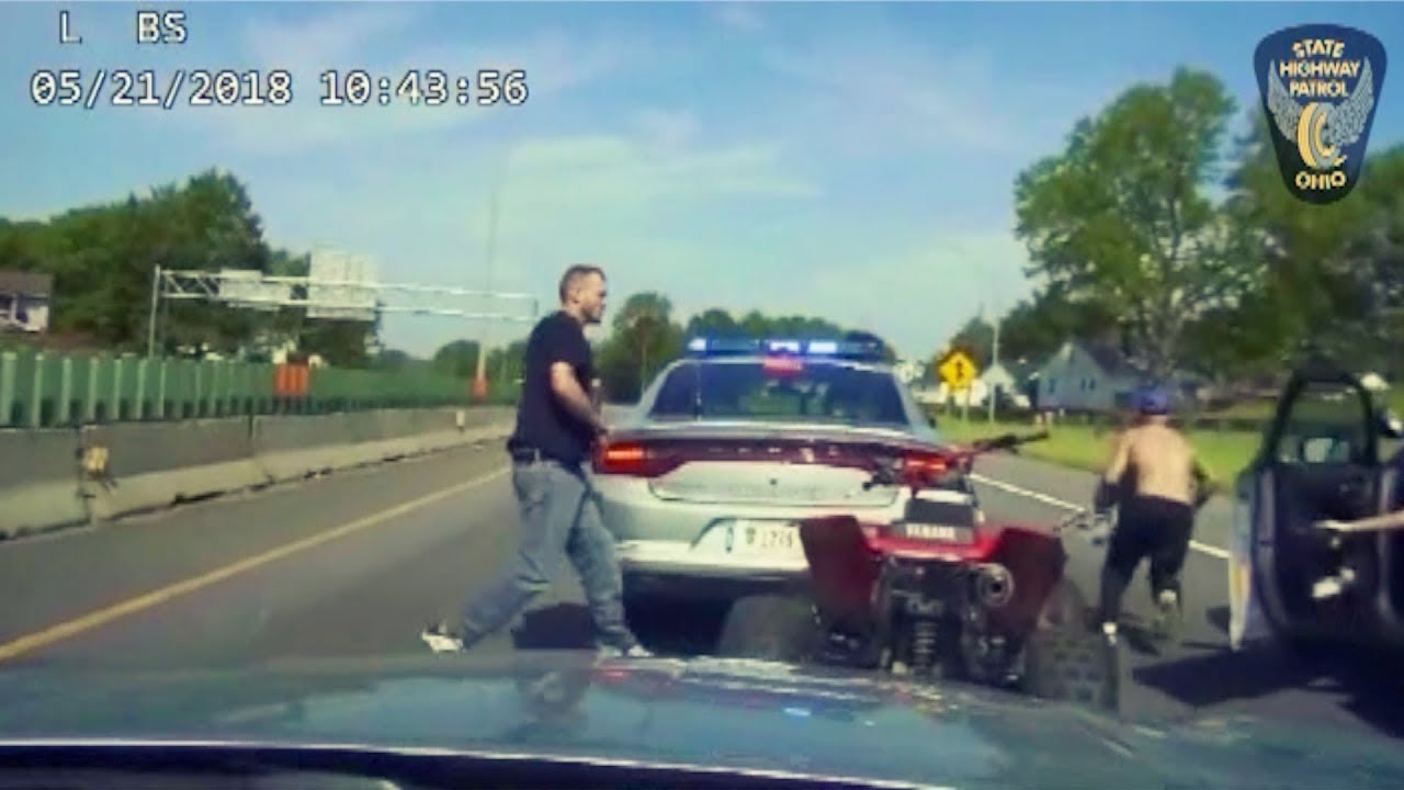 Ohio Troopers Chase ATV on Interstate
