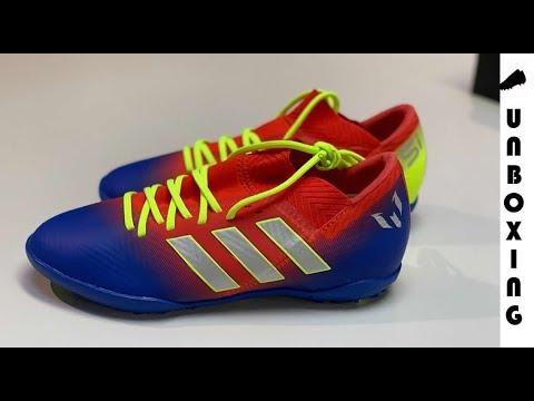 d4ff51614aa2 adidas Nemeziz Messi Tango 18.3 TF Initiator - Action Red Silver  Metallic Blue Kids