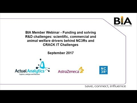 BIA Webinar- Funding and solving R&D challenges with NC3Rs, AstraZeneca and Actual Analytics
