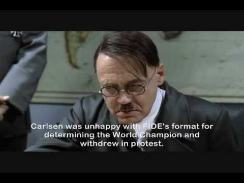 Hitler discovers Magnus Carlsen won't be in the chess world championships.