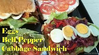Eggs Bell Pepper Cabbage Filling Sandwich | Easy to make | Light & Delish