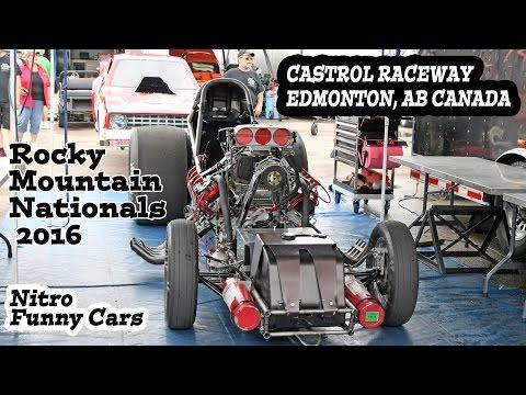 IHRA Rocky Mountain Nationals 2016. Nitro Nostalgia Funny Cars, Castrol Raceway, Edmonton, AB Canada