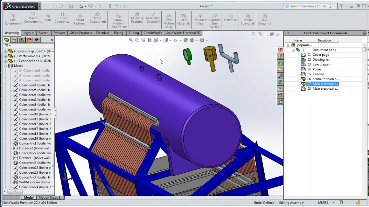 hight resolution of boiler design on solidworks steam power plant ii