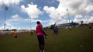 Myron Rolle Play 4 Progress 2015 Youth Football Camp - Tip Drill