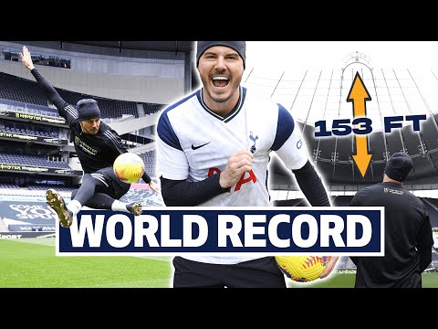 Controlling a football thrown from the TOP of our stadium! F2Freestylers 153ft world record attempt!