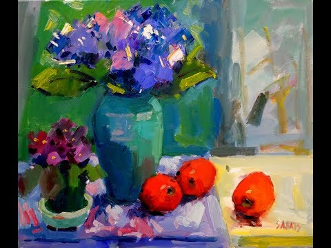 Hydrangea and Red Apples Stillife Demo No 1 Real Time