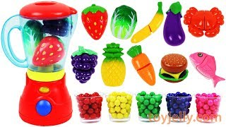 Toy Blender Playset Learn Colors Fruits Vegetables Food with Velcro Toys for Kids Preschoolers
