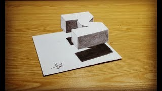 very Easy - how to drawing 3D flOating letter M