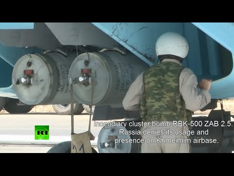 """RT accidently shows cluster bombs that Russia """"does not"""" use in Syria."""