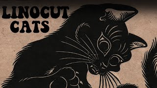 "Lino Cut printmaking "" Black Cats"""