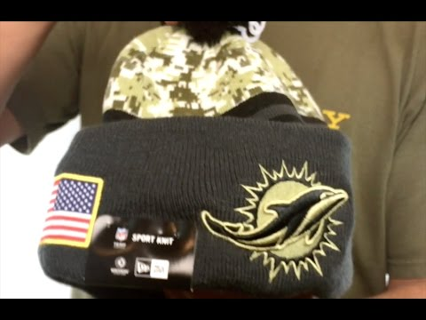 78e3b8528e0 Dolphins  2016 SALUTE-TO-SERVICE  Knit Beanie Hat by New Era - YouTube