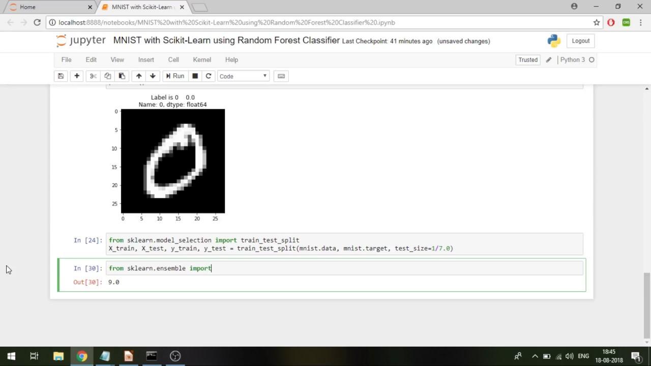 MNIST digits classification using Random Forest Classifier in Python