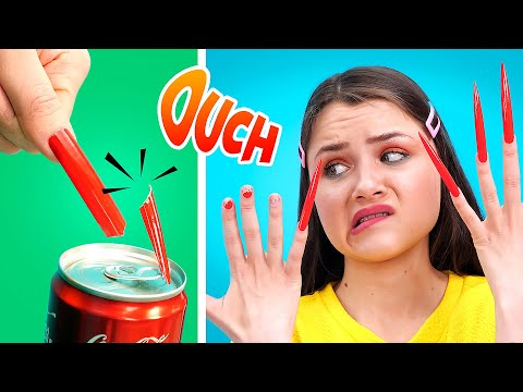 GIRLS PROBLEMS WITH LONG NAILS II Relatable Funny Situations by 6-Teen!