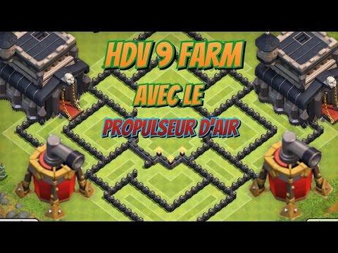 hdv9 farm avec le propulseur d 39 air th9 farming base with air sweeper youtube. Black Bedroom Furniture Sets. Home Design Ideas