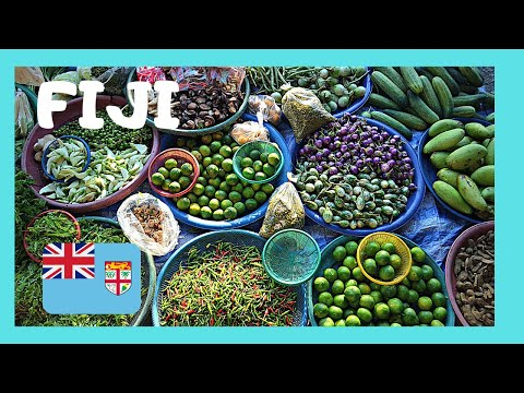 FIJI, the busy fruit, produce, flower & food stalls of the MUNICIPAL MARKET in SUVA