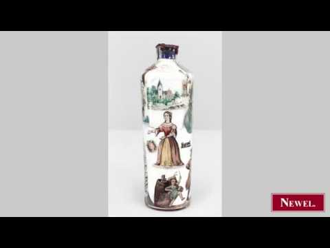 Antique English Victorian style glass bottle with decal