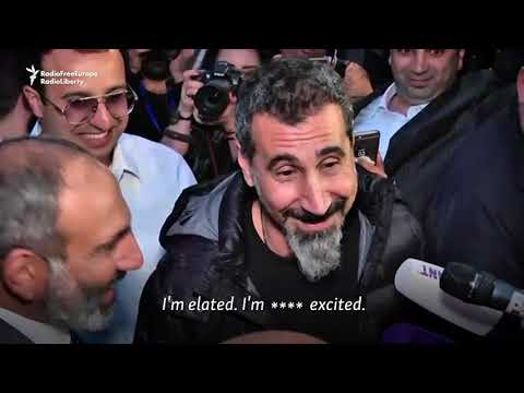System Of A Down's Serj Tankian Arrives In Yerevan For Pashinian Rally