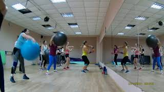 Групповая тренировка фитобол+мяч+силовая